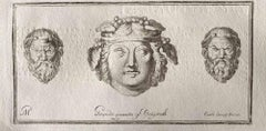 Human Heads from Ancient Rome - Original Etching by Various Masters - 1750s