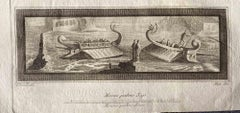 Ships from Ancient Rome - Original Etching by Various Masters - 1750s
