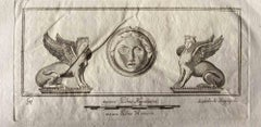 Sphinxes from Ancient Rome - Original Etching by Various Masters - 1750s