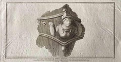 Ancient Roman bust - Original Etching by Various Old Masters - 1750