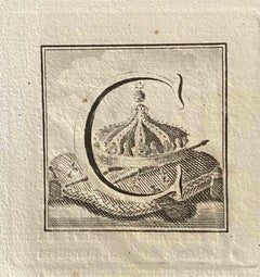 Capital Letter - Original Etching by Various Old Masters - 1750s