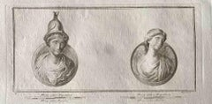 Roman Bust - Original Etching by Various Old Masters - 1750s