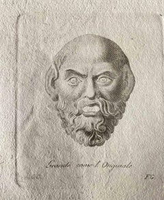 Roman Head - Original Etching by Various Old Masters - 1750s
