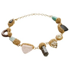Various Shapes and Colorful Semi-Precious Stone and Pearl Yellow Gold Necklace