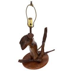 Varnished Arts & Crafts Driftwood Table Lamp