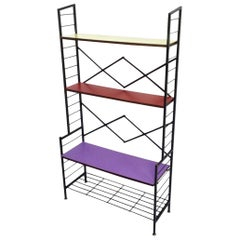 Vintage Varnished Iron Étagère with Wooden Shelves Covered in Formica, Italy