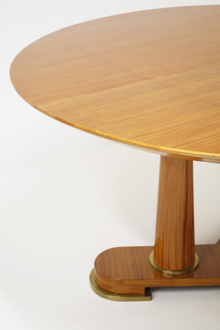 Patinated Varnished Lemon-Tree Circular Table by Jean Royère, circa 1950 For Sale