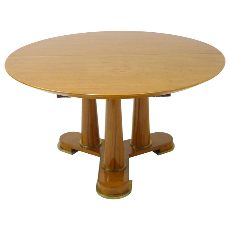 Varnished Lemon-Tree Circular Table by Jean Royère, circa 1950 For Sale