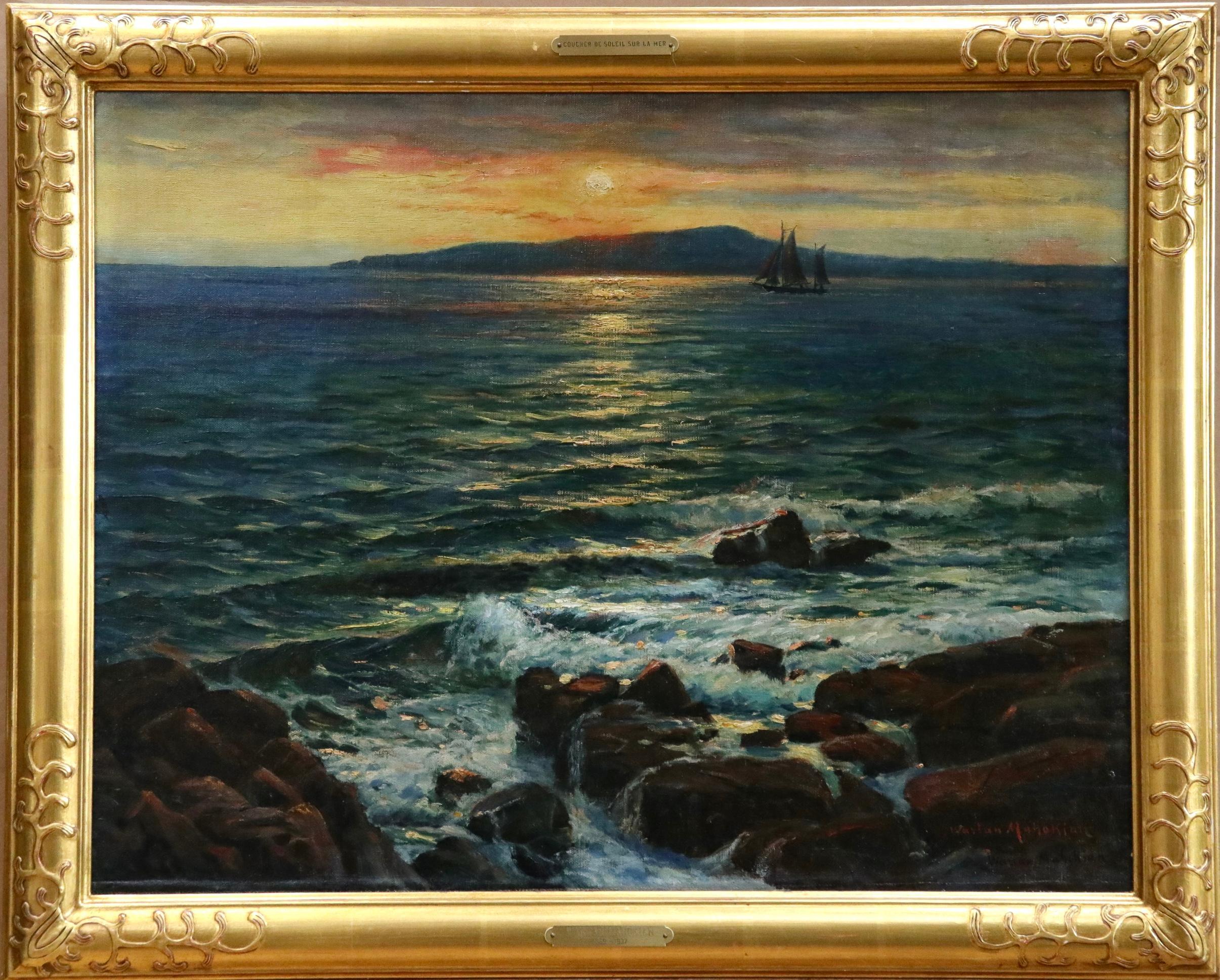 Coucher de Soleil sur la Mer - 19th Century Oil, Sunset over Seascape - Mahokian