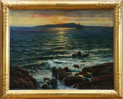 Coucher de Soleil sur la Mer - 19th Century Oil, Sunset over Seascape - Mahokian