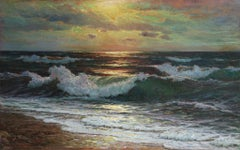 Sunset - 20th Century Impressionist Oil, Seascape by Vartan Makhokhian