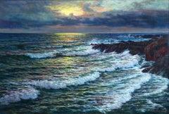 Sunset - Impressionist Oil, Sunset over Seascape by Vartan Makhokhian