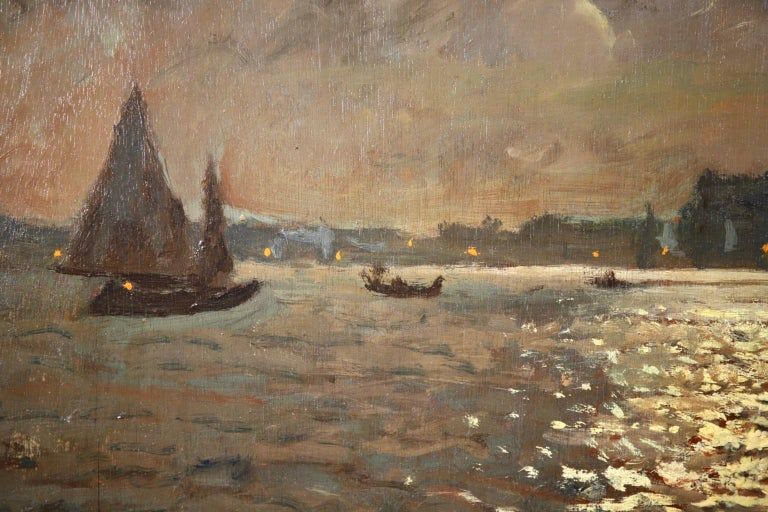 Venice - Evening - Impressionist Oil, Boats in Seascape by Vartan Makhokhian For Sale 9