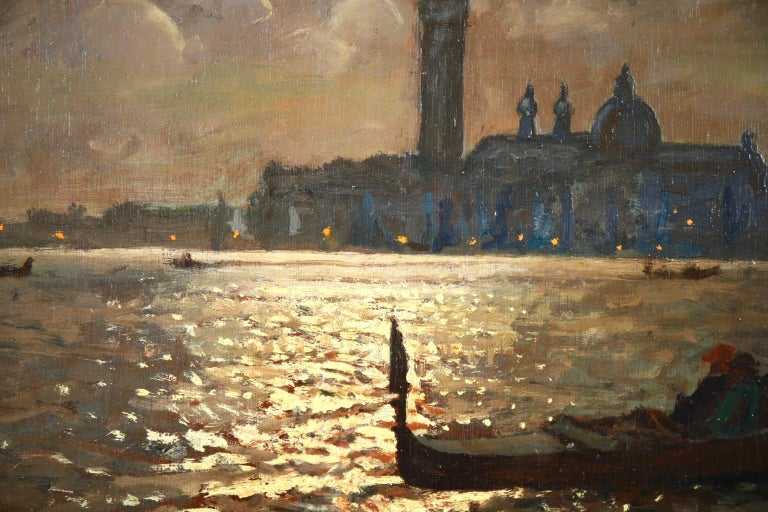 Venice - Evening - Impressionist Oil, Boats in Seascape by Vartan Makhokhian For Sale 10