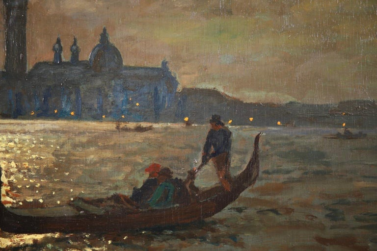 Venice - Evening - Impressionist Oil, Boats in Seascape by Vartan Makhokhian For Sale 11