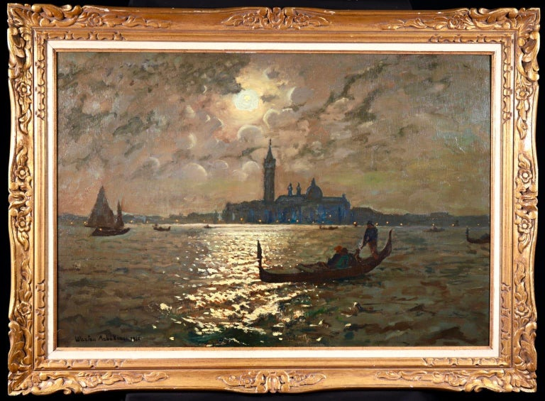 Venice - Evening - Impressionist Oil, Boats in Seascape by Vartan Makhokhian For Sale 1