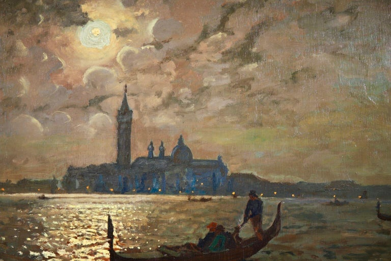 Venice - Evening - Impressionist Oil, Boats in Seascape by Vartan Makhokhian For Sale 2