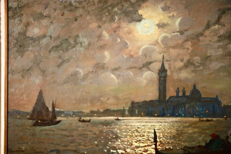 Venice - Evening - Impressionist Oil, Boats in Seascape by Vartan Makhokhian For Sale 3