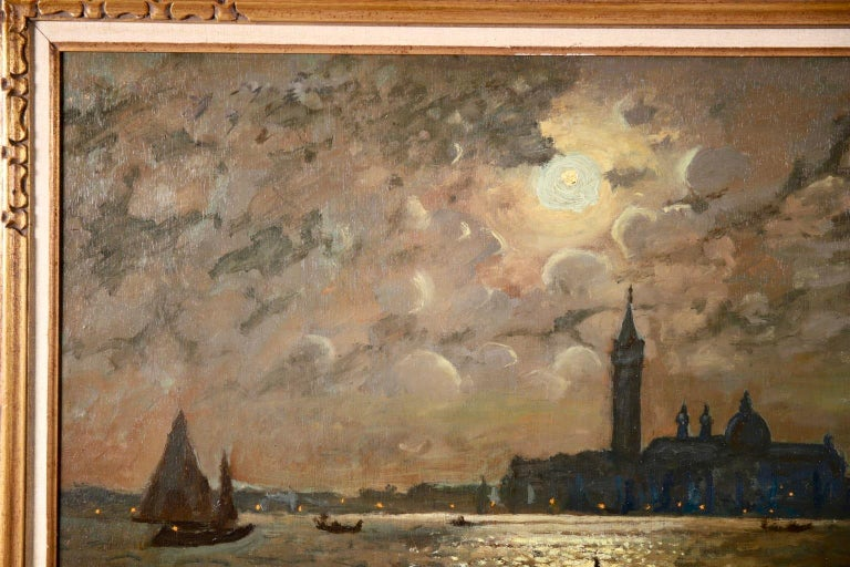 Venice - Evening - Impressionist Oil, Boats in Seascape by Vartan Makhokhian For Sale 4