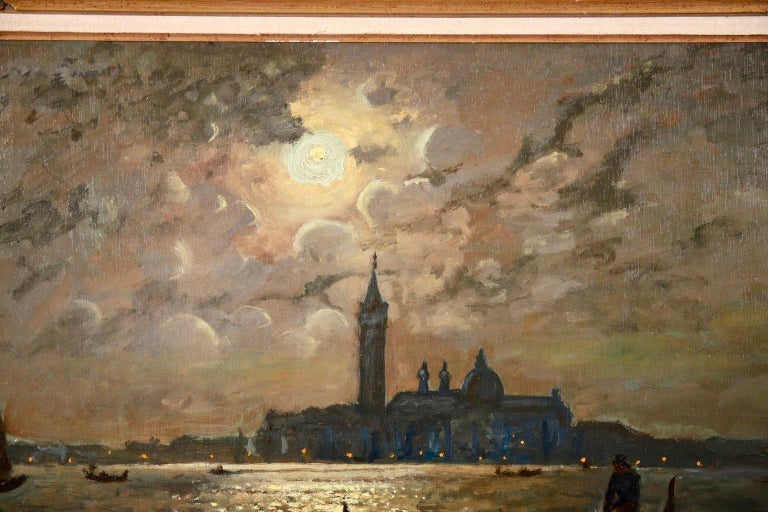 Venice - Evening - Impressionist Oil, Boats in Seascape by Vartan Makhokhian For Sale 5
