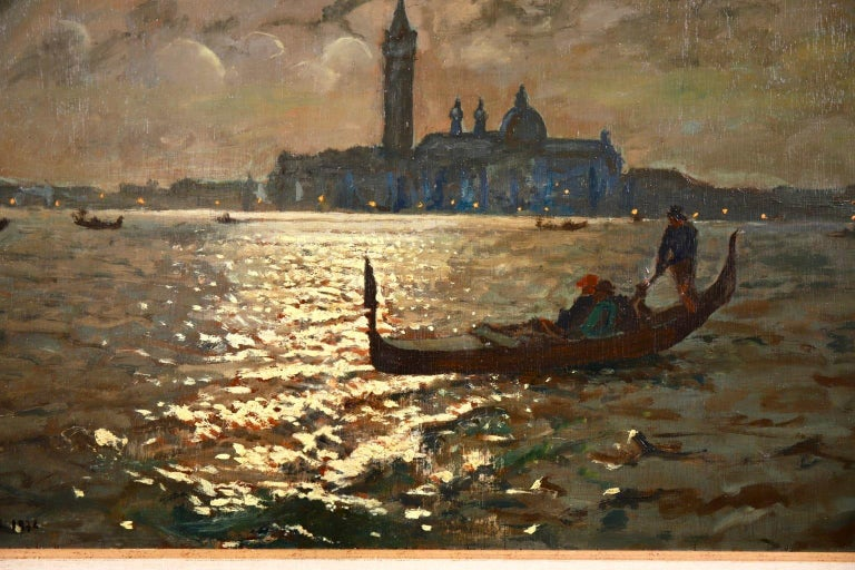 Venice - Evening - Impressionist Oil, Boats in Seascape by Vartan Makhokhian For Sale 6