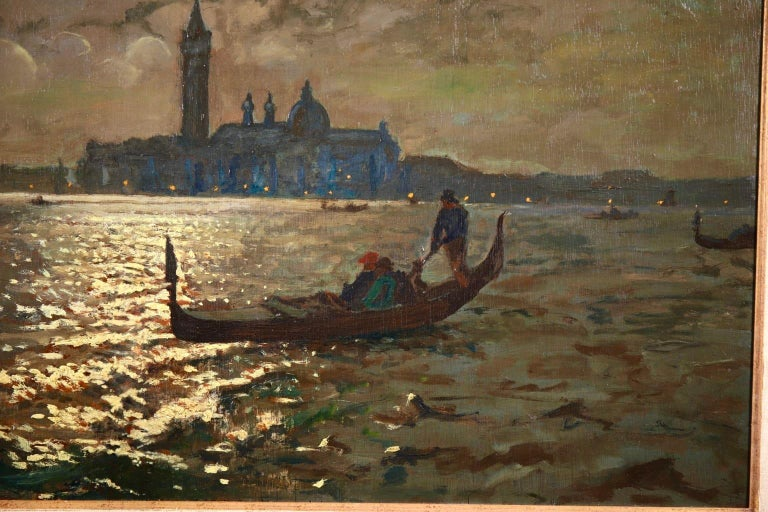 Venice - Evening - Impressionist Oil, Boats in Seascape by Vartan Makhokhian For Sale 7