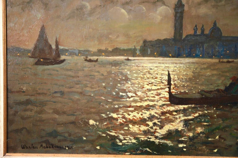 Venice - Evening - Impressionist Oil, Boats in Seascape by Vartan Makhokhian For Sale 8