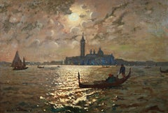 Venice - Evening - Impressionist Oil, Boats in Seascape by Vartan Makhokhian