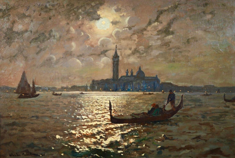 A large and beautiful oil on canvas by Armenian painter Wartan Mahokian depicting figures sailing in gondolas in Venice with the Doges Palace in the background and the light from the moon reflecting in the rippling water.  Signature: Signed & dated