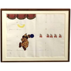 Framed Paper Collage With Clowns