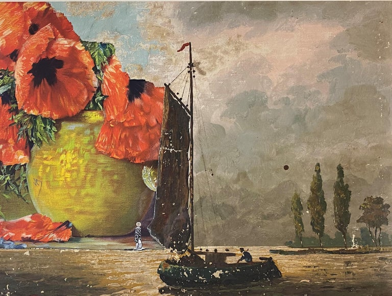 Poppies & A Boat - Abstract Expressionist Art by Varujan Boghosian