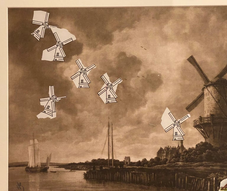 A fine abstract expressionist paper collage with windmills by American artist Varujan Boghosian (1926-2020). Boghosian was born in New Britain, CT and after serving in the United States Navy, he attended Central Connecticut Teachers College and the