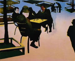 Game of Chess - 21st Century Contemporary Limited Edition Colour Linocut Print