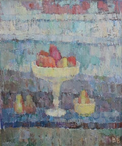 Red Pears - 21st Century Contemporary Expressionist Still Life Oil Painting