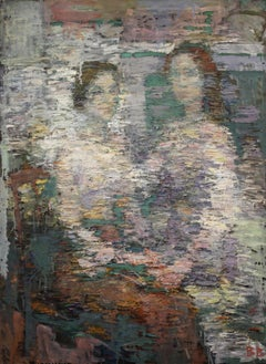 Sisters - 21st Century Contemporary Expressionism Oil Portrait Painting