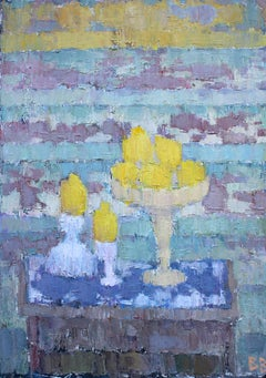 Still Life With Lemons - 21st Century Contemporary Impasto Oil Painting