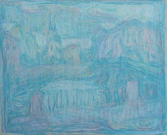 View of the Temple - 21st Century Contemporary Expressionist Pastel Drawing