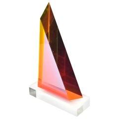 Vasa Melich Laminated Lucite Geometric Sculpture Signed