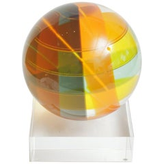 Vasa Mihich Signed Dated Laminated Lucite Large Round Ball On Lucite Base