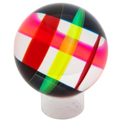 Vasa Mihich Sphere, Cast Acrylic, Red, Pink, Yellow, Black, Abstract, Signed