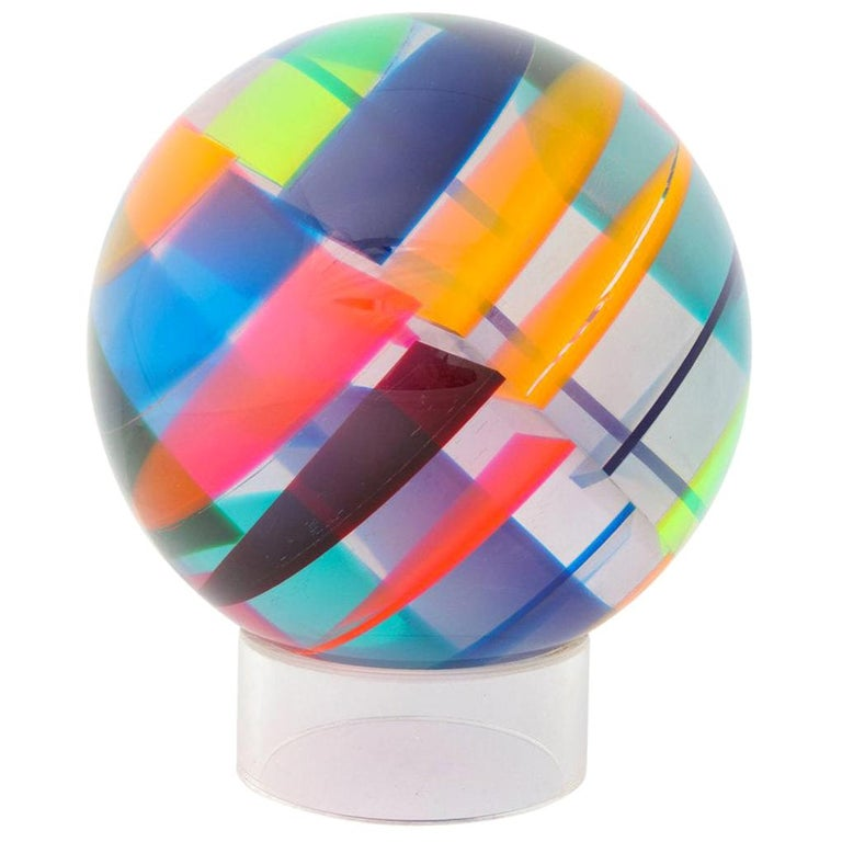 Vasa Mihich Sphere, Laminated Cast Acrylic, Blue, Magenta and Orange, Signed For Sale