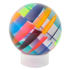 Vasa Mihich Sphere, Laminated Cast Acrylic, Blue, Magenta, Orange, Signed