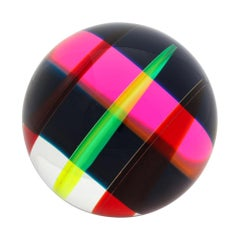 Vasa Mihich Sphere, Laminated Cast Acrylic, Red, Pink, Yellow, Black, Signed