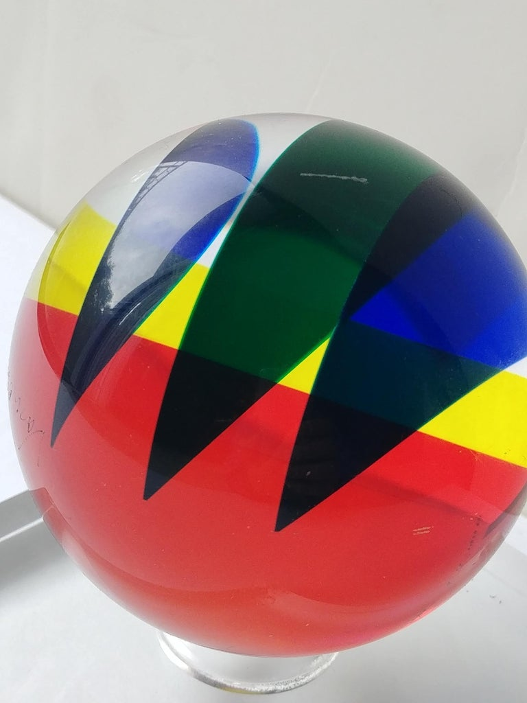 Very nice multicolored acrylic ball, by the well-known artist Vasa, signed and date 2001. As shown in pictures. Has a custom acrylic base 5 inches square and approximate 1