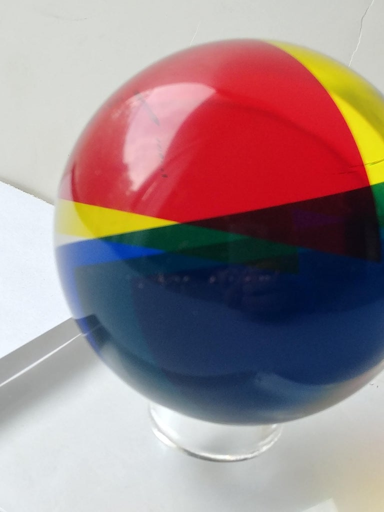 Post-Modern Vasa, Velizar Mihich Acrylic, Ball, Sphere Sculpture, Signed, Dated For Sale