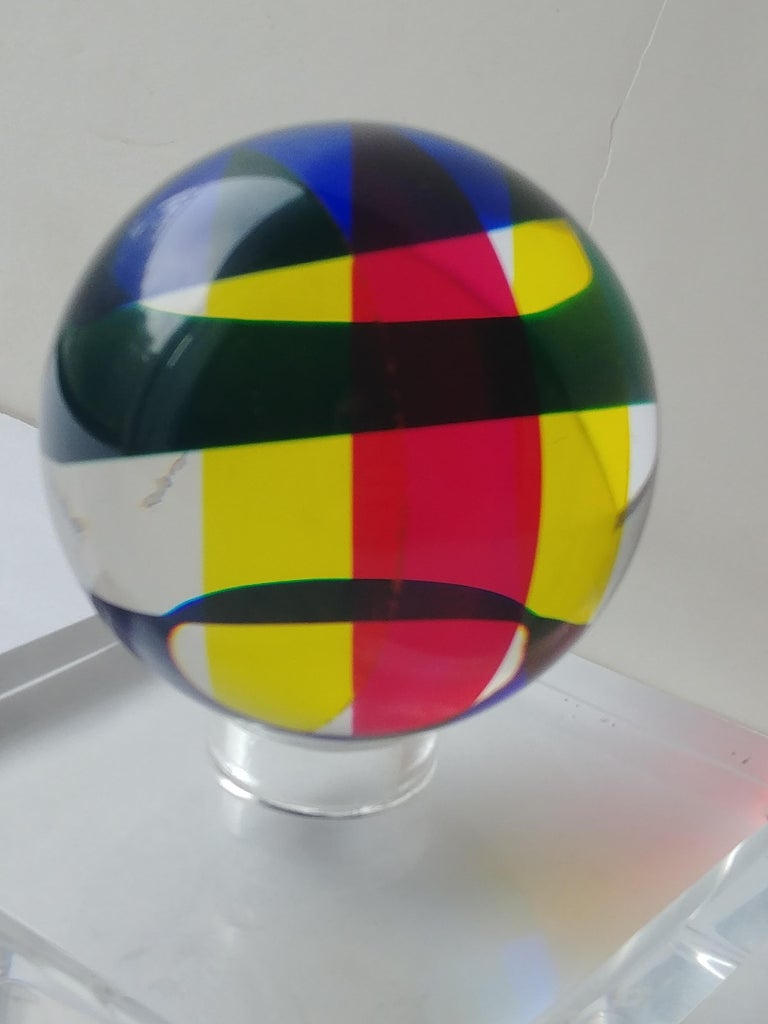 American Vasa, Velizar Mihich Acrylic, Ball, Sphere Sculpture, Signed, Dated For Sale
