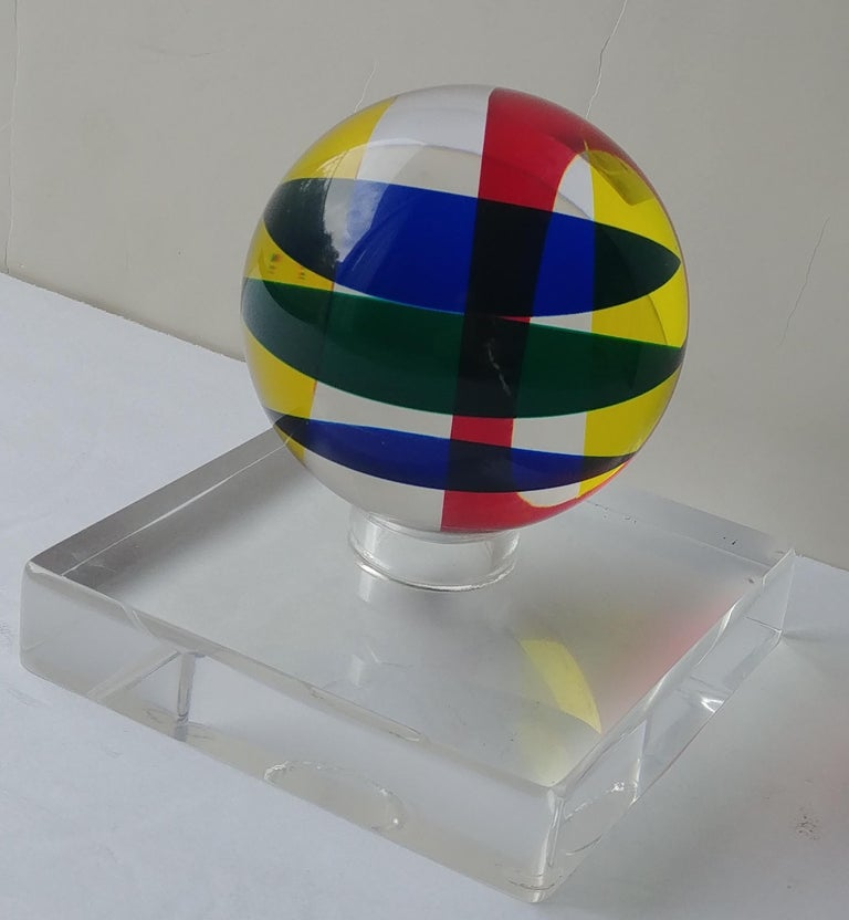 Hand-Crafted Vasa, Velizar Mihich Acrylic, Ball, Sphere Sculpture, Signed, Dated For Sale