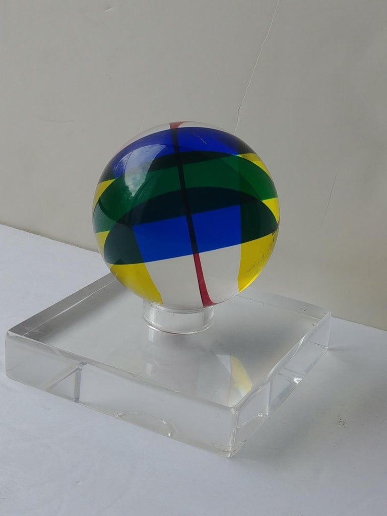 Vasa, Velizar Mihich Acrylic, Ball, Sphere Sculpture, Signed, Dated In Excellent Condition For Sale In Los Angeles, CA