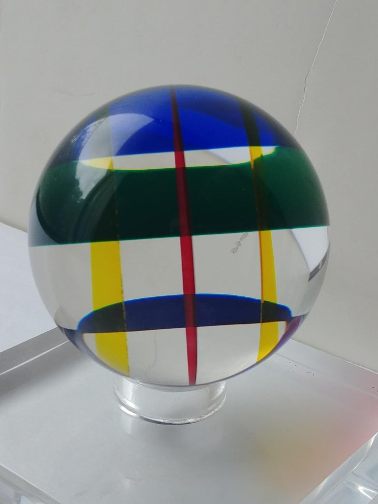 Contemporary Vasa, Velizar Mihich Acrylic, Ball, Sphere Sculpture, Signed, Dated For Sale