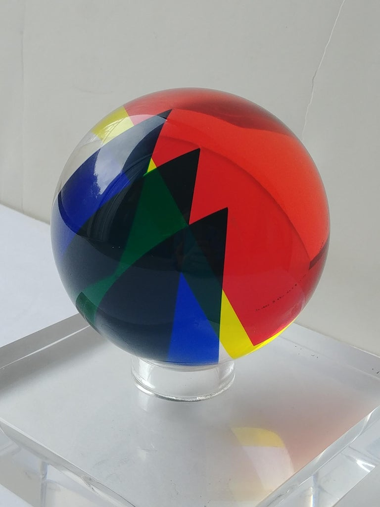 Vasa, Velizar Mihich Acrylic, Ball, Sphere Sculpture, Signed, Dated For Sale 1